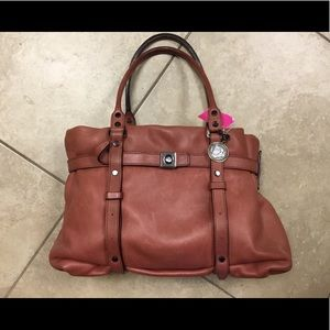 Lanvin rust color leather tote shoulder bag